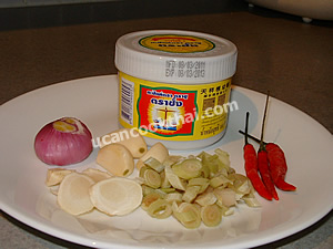 Spicy paste Ingredients: chilies lemon grass galangals shallot garlic shrimp paste