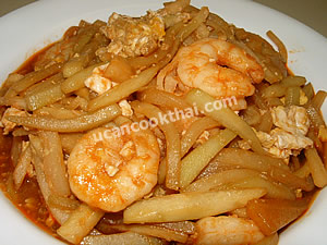 Place stir-fried chayote with egg & shrimp on a plate and serve immediately